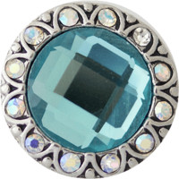 "Snap Charm Turquoise Crystal Center 20mm, 3/4"" Diameter"