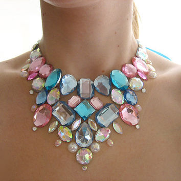 Sparkling Blue and Pink Cotton Candy Inspired Floating Rhinestone Statement Bib Necklace, Cute Kawaii Deco Loli Fashion Accessory