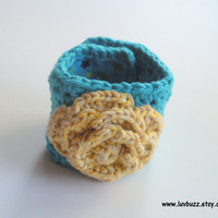Turquoise Crochet Cotton Cuff Bracelet with Yellow Rose, ready to ship.