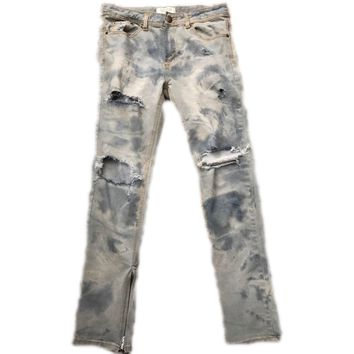 Bleached Indigo Distressed Denim w/ Ankle Zippers
