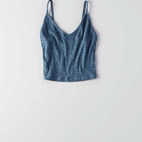 Don't Ask Why V-Neck Crop Tank, Blue
