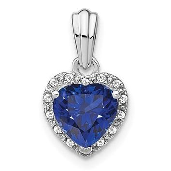 Sterling Silver Created Blue Sapphire And Diamond Heart Pendant