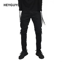 HEYGUYS 2017 fashion high street mens destroyed jeans hole casual pants ankle cool blue joggger damage jeans rock star jeans