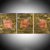 "ARTFINDER: "" Copper State "" extra large huge triptych 3 panel wall art copper burnt umber effect painting big abstract metallic impasto elegant abstraction 48 x 20"" by Stuart Wright - "" Copper State "" A set of 3 elegant large elega..."