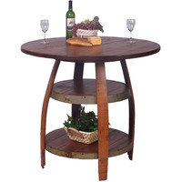 Barrique Bistro Table w/ Shelves (Made from Wine Barrels)