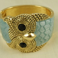 Owl Bracelet Enameled Gold Blue from Eves Home Decor and Jewelry