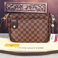 LV Louis Vuitton New fashion monogram tartan print shoulder bag crossbody bag coffee tartan
