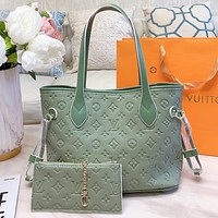LV New fashion monogram leather shoulder bag two piece suit Green