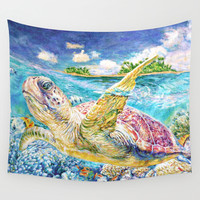 Sea Turtle (oil) Wall Tapestry by LiliyaChernaya