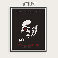 Twelve Monkeys (1995), Bruce Willis, Brad Pitt, Madeleine Stowe, Minimal Movie Poster.