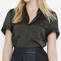 Military Rolled Sleeve Blouse from EXPRESS