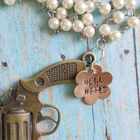 Pearl Gun Necklace / Hell on Heels / Rosary Style Jewelry / Cowgirl Chic Jewelry / Hand Stamped Jewelry / Mixed Metal Jewelry