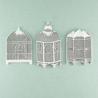 """Shabby Chic Metal Treasures-Bird Cages 3/Pkg 1"""" To 2"""""""