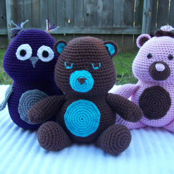Customized Crochet Bear, Bear Stuffed Animal, Crochet Animal, Crochet Teddy Bear, Teddy Bear Plush, Bear Plush, Baby Boy Nursery