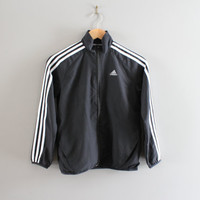 Free US Shipping Youth Adidas Windbreaker Black 3 Stripes Light Weight Waterproof Adidas Zip Up Jacket 90s Vintage Size 12 Years Old #C067A