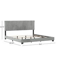 Upholstered Bed Frame with Slats, Rails and Headboard