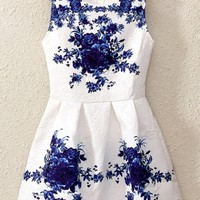 Chinese Style Blue-and-white Dress