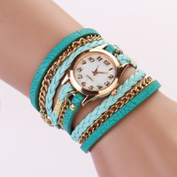 Leather Wrap Bracelet Watch - Sky Blue