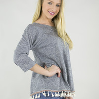Fun Fringe Tassel 3/4 Sleeve Top