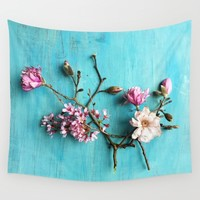 Flowers of Spring Wall Tapestry by Olivia Joy StClaire