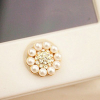 home button, Phone Charm, Colorful bling/rhinestone Circle Pearl iPhone Home Button Sticker for iPhone 4,4s,4g, iPhone 5, iPad,