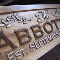 Personalized Est Name Signs CARVED Custom by Lovejoystore