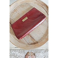 Vintage Oxblood Chic Leather Clutch