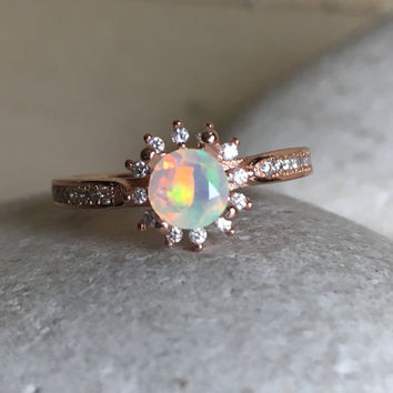 Fire Opal Rose Gold Ring- Opal Engagement Ring- Promise Ring- Wedding Ring- Halo Ring- Rose Gold Ring- Bridal Ring- October Birthstone Ring