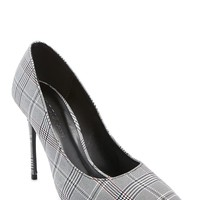 Glen Plaid Pointed Toe Pumps