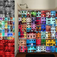 colorful house home city downtown building shower curtain bathroom decor fabric kids bath white black custom duvet cover rug mat window