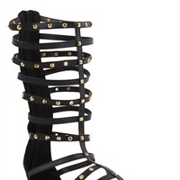 Tall Gladiator Sandal with Studded Buckled Straps