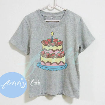 Cake shirt Happy birthday candle tee Crew neck sweatshirt Short sleeve tee shirts+off white or grey toddlers shirt +kids girl boy clothes