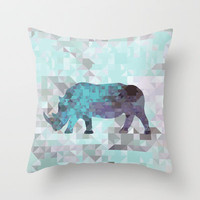 Rhino Throw Pillow by Deniz Erçelebi