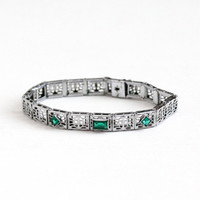 Antique Art Deco Silver Tone Simulated Emerald Filigree Panel Bracelet - Vintage 1920s Green Glass Stone May Birthstone HFB Barrows Jewelry