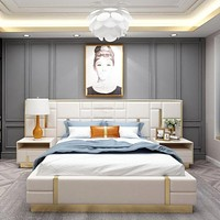 Modern Luxury Italy Design King Size Leather Bed