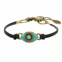 Small teal evil eye bracelet w/ teal crystal center on leather strap, handmade at Michal Golan Studios USA