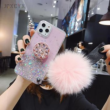3D Diamond  Glitter Holder With Fur Pom Pom Phone Case For iphone X XR XS 11 Pro Max 6 7 8 plus For Samsung S8 S9 S10 Note A50