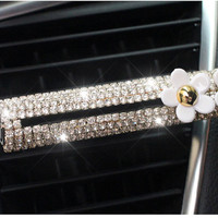 Crystal Car Air Freshener Vent Clip with Flowers, Car Decal Accessories