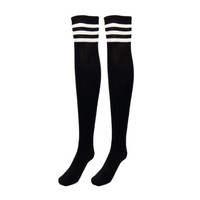 Really Cute! Thigh High/Over The Knee Black With White Stripes on Top Socks