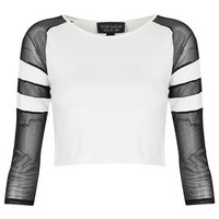 Striped Sleeve Crop Top - Jersey Tops - New In This Week  - New In