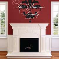 Family Established Wall Decal-Vinyl Name Decal- Decal-Living room-Entry-Kitchen-Bedroom -Picture Wall-Photo Wall- Elegant Script