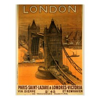 London Vintage Bridge Tower Postcard