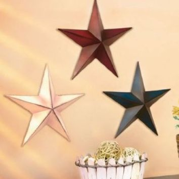 """Set of 3 Metal Stars (Each 11"""" Diameter) Red,White and Blue"""