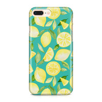 Summery Watercolor Lemon Case, Fruity Phone Case, Teal Phone Case, Citrus Phone Case, iPhone 8, Samsung Galaxy S9