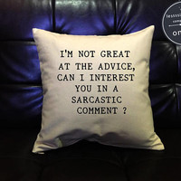 "Friends TV Show Chandler Bing ""Sarcastic Comment"" Quote Pillow, Friends Tv Sitcom Quote Pillow Cover, cotton canvas pillow cover"