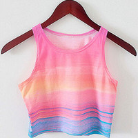 Pink Sleeveless Gradient Color Cropped T-shirt Tank Tops