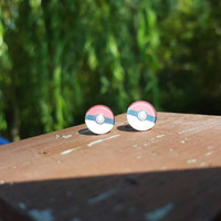 Pocket monster ball inspired stud earrings