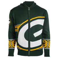 Green Bay Packers Official NFL Full Zip Hooded Sweatshirt by Klew