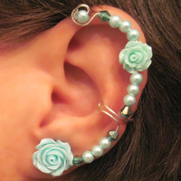 "Non Pierced Ear Cuff  ""Forever Beautiful"" Cartilage Conch Cuff Silver tone Wedding Bridal Prom Quinceanera"