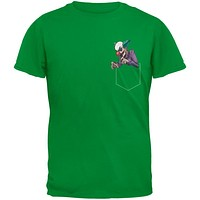 Pocket Halloween Horror Scary Clown Irish Green Adult T-Shirt